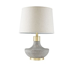 Madison Park Signature Maida Table Lamp in Grey/Gold with CFL Bulb and Fabric Shade