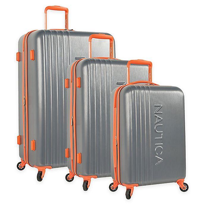Alternate image 1 for Nautica® Life Boat 3-Piece Hardside Spinner Luggage Set in Dark Grey/Classic Orange