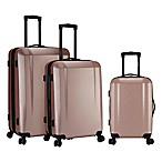 Kensie 3-Piece Hardside Spinner Luggage Set in Rose Gold