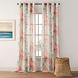 Palm Leaf Grommet-Top Window Curtain Panel Collection