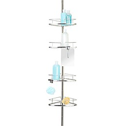 Better Living FineLine 4-Tier Tension Pole Shower Caddy in Stainless Steel