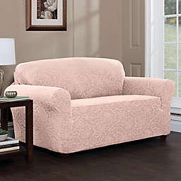 Peachy Pink Loveseat Slipcovers Bed Bath Beyond Gmtry Best Dining Table And Chair Ideas Images Gmtryco