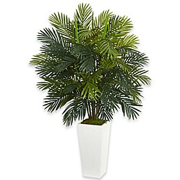 Nearly Natural Palm Artificial Plant in White Base Collection
