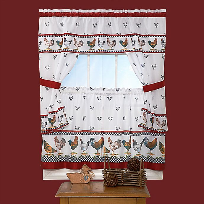 """Alternate image 1 for Achim """"Top of the Morning"""" 24-Inch Kitchen Window Curtain Tier Pair in Black"""