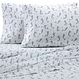 Coastal Print Mermaid 300-Thread-Count California King Sheet Set in Grey