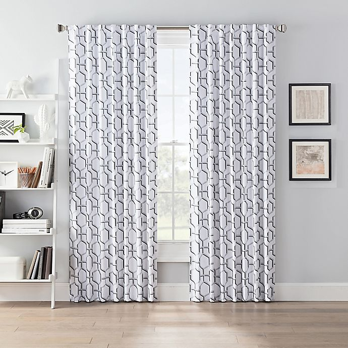 Alternate image 1 for SmartBlock™ Chroma 72-Inch Back Tab 100% Blackout Window Curtain Panel in Grey/White