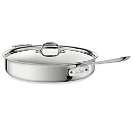 All-Clad D3 Stainless Steel 6 qt. Covered Saute Pan with Helper Handle