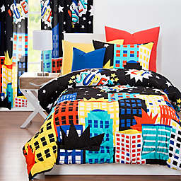 "Learning Linens ""Be Super"" Reversible Twin Comforter Set in Black/Blue"