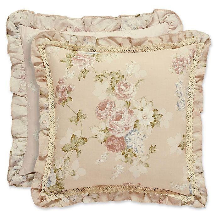 Piper wright anna 20 inch square throw pillow in blush - Anna s linens bathroom accessories ...