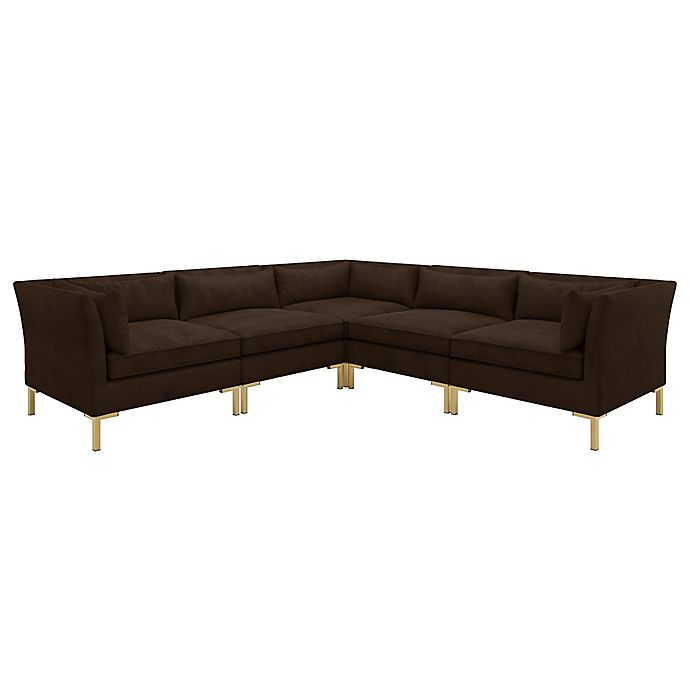 Alternate image 1 for Doyer 5-Piece L-Shaped Velvet Sectional Sofa in Chocolate