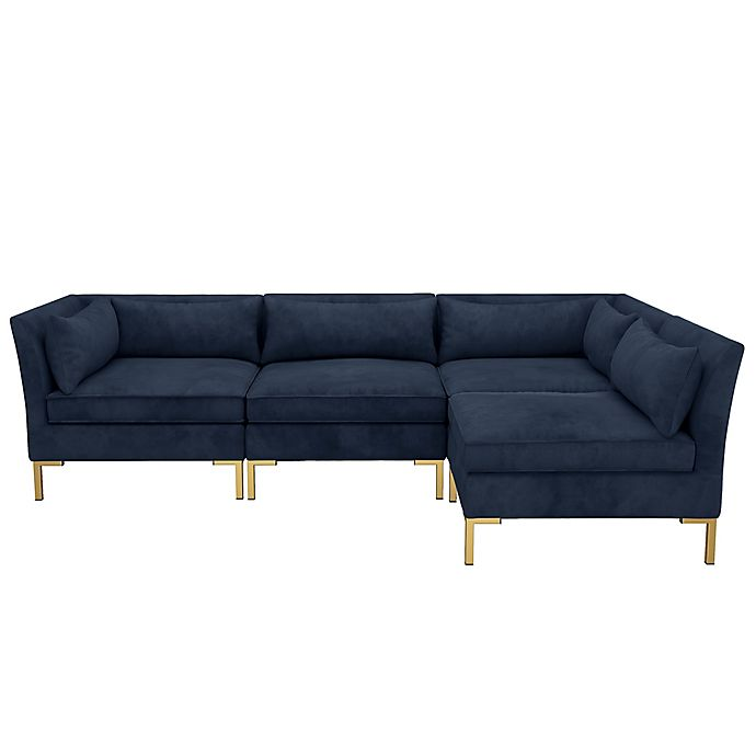 Enjoyable Doyer 4 Piece Velvet Sectional Sofa Bed Bath Beyond Download Free Architecture Designs Viewormadebymaigaardcom