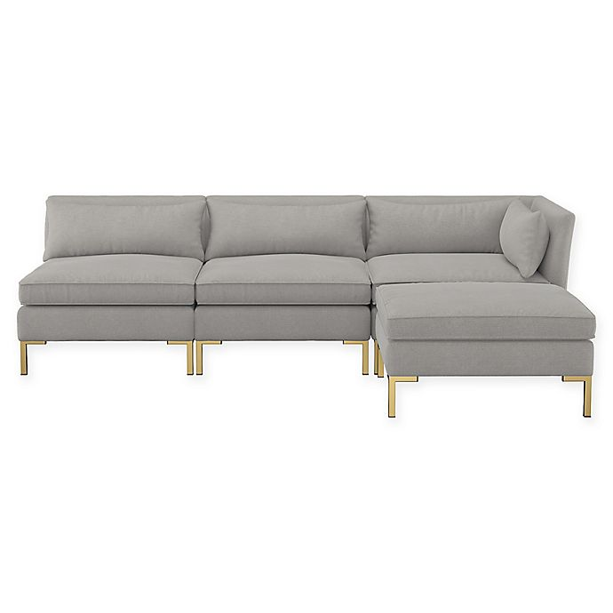 Alternate image 1 for Doyer 3-Piece Open End Linen Sectional Sofa with Ottoman in Grey