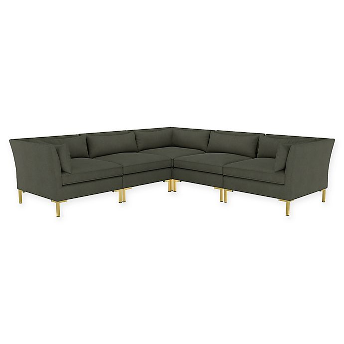 Alternate image 1 for Doyer 5-Piece L-Shaped Linen Sectional Sofa in Charcoal