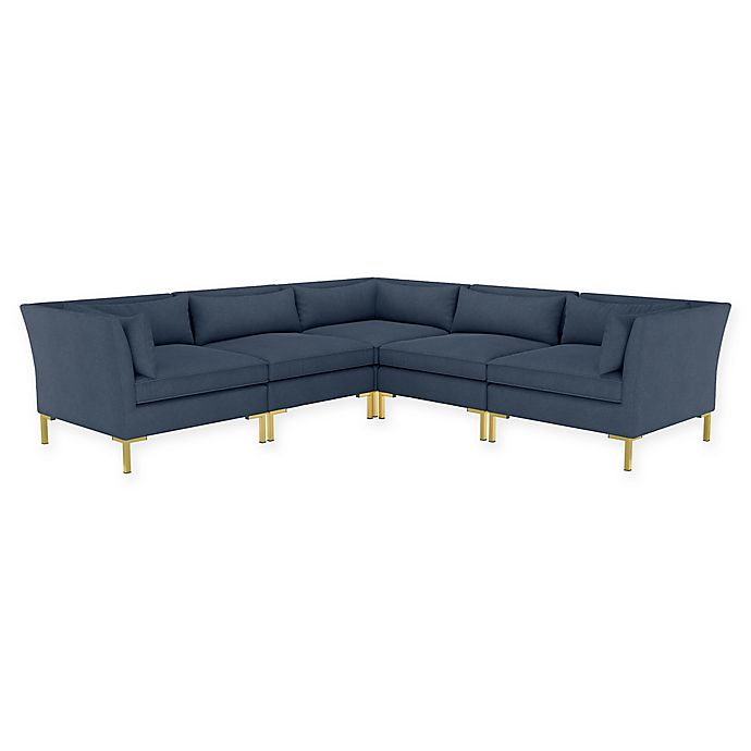 Alternate image 1 for Doyer 5-Piece L-Shaped Linen Sectional Sofa in Navy