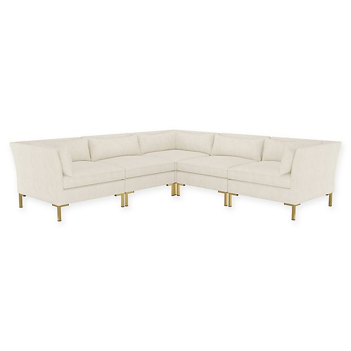 Alternate image 1 for Doyer 5-Piece L-Shaped Linen Sectional Sofa in Talc