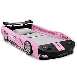 Delta Children Turbo Race Car Twin Bed in Pink