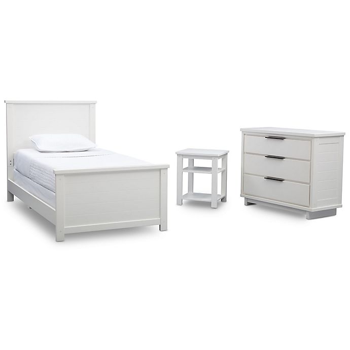 Alternate image 1 for Delta™ Meadowbrook 3-Piece Toddler Bed, Nightstand and Dresser Set in White