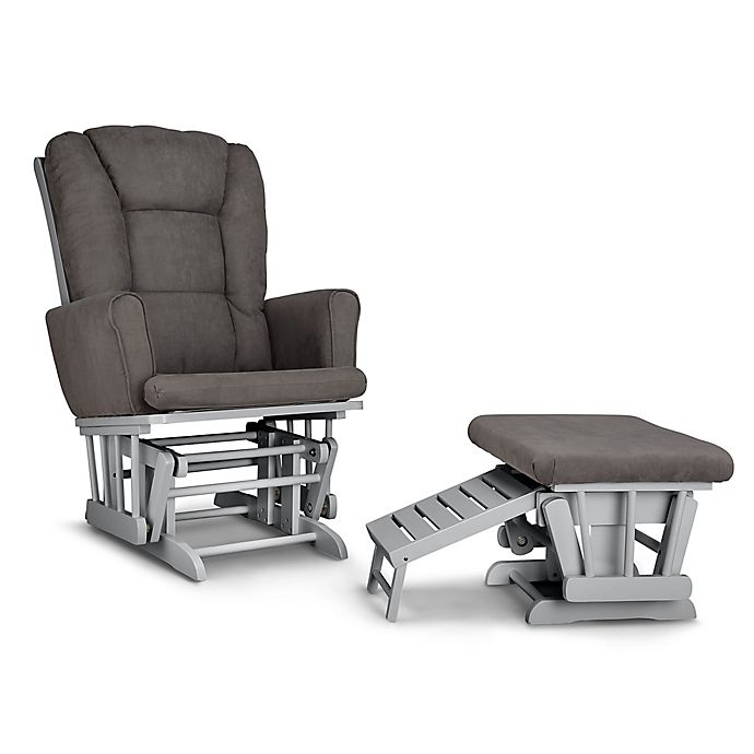 Alternate image 1 for Graco® Sterling Semi-Upholstered Glider in Pebble/Grey with Ottoman