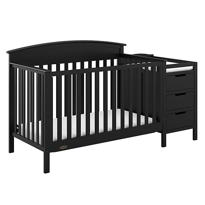Alternate image 1 for Graco® Benton 4-in-1 Convertible Crib and Changer in Black
