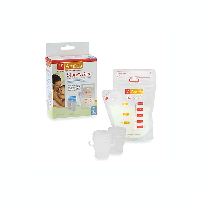 Alternate image 1 for Ameda Store 'N Pour Breast Milk Storage Bags with Adapter (20 Count)
