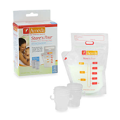 Ameda Store 'N Pour Breast Milk Storage Bags with Adapter (20 Count)