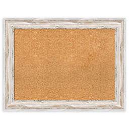 Amanti Art Large Framed Cork Board with Alexandria Whitewash
