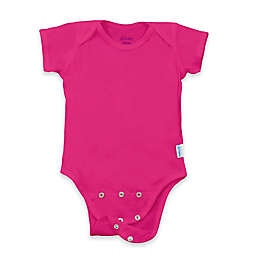 i play. Brights Organic Cotton Short-Sleeve Adjustable Bodysuit in Fuchsia
