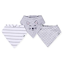 asher and olivia® 3-Pack Cat Bandana Bibs in Grey
