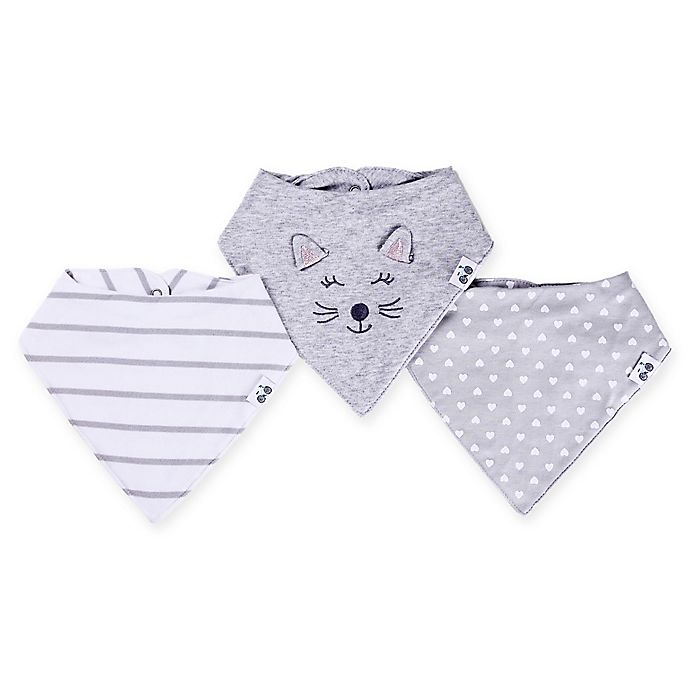 Alternate image 1 for asher and olivia® 3-Pack Cat Bandana Bibs in Grey