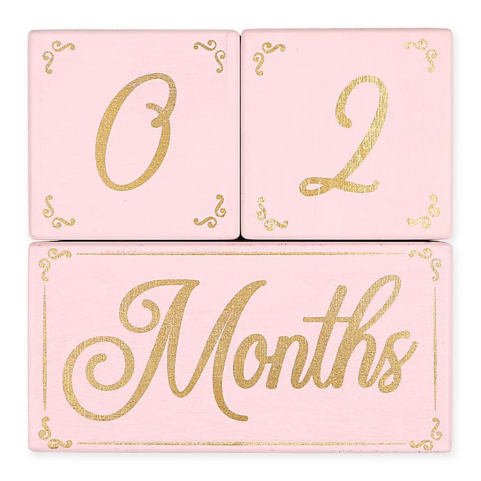 Alternate image 1 for The PeanutShell™ 3-Piece Milestone Block Set in Pink/Gold