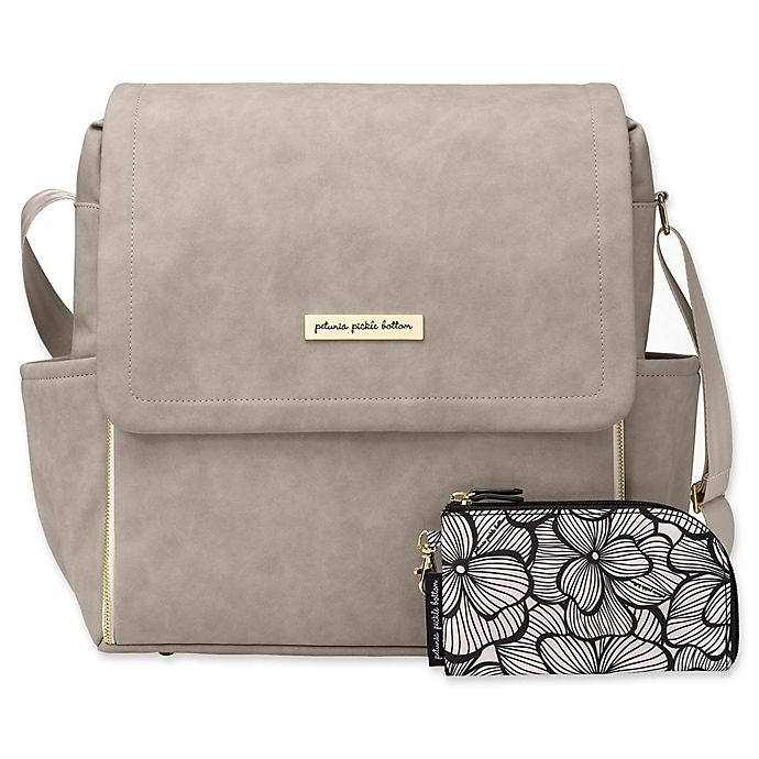 Alternate image 1 for Petunia Pickle Bottom® Boxy Backpack Diaper Bag in Grey Matte Leatherette