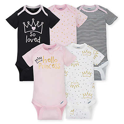 Gerber® ONESIES® Brand 5-Pack Princess Short Sleeve Bodysuits