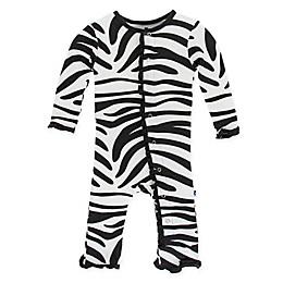 KicKee Pants® Zebra Long Sleeve Coverall in Black/White