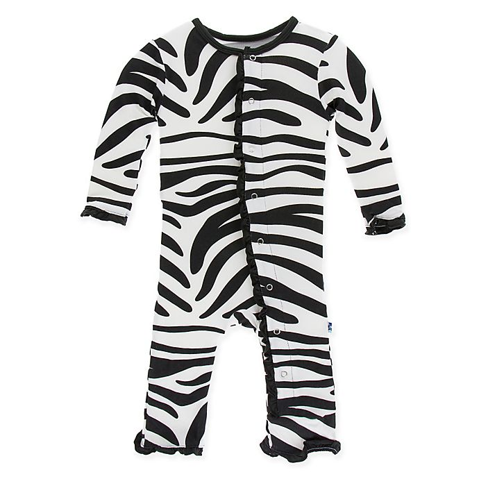 c2408cd88703 KicKee Pants® Size 0-3M Zebra Long Sleeve Coverall in Black White