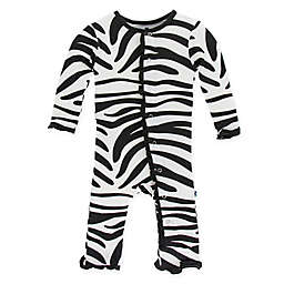 KicKee Pants® Zebra Long Sleeve Coverall in Black/White