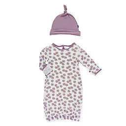 KicKee Pants® Size 0-3M 2-Piece Floral Gown and Hat Set in Ivory