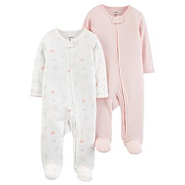 carter's® Preemie Zip-Front 2-Pack Footies in Pink