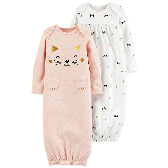 carter\'s?? Preemie 2-Pack Cat Print Long Sleeve Sleeper Gowns in ...