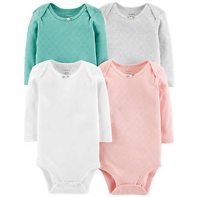 carter's® 4-Pack Pointelle Hearts Long Sleeve Bodysuits