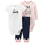 "carter's® Newborn 3-Piece ""I ♥ Daddy"" Bodysuit and Pant Set in Pink"