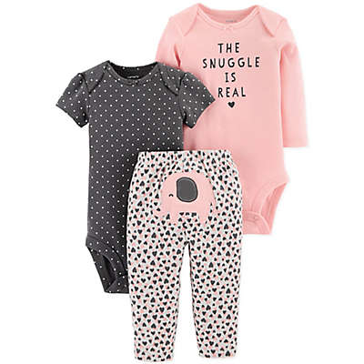 "carter's® 3-Piece ""The Snuggle Is Real"" Bodysuit and Pant Set in Pink/Grey"