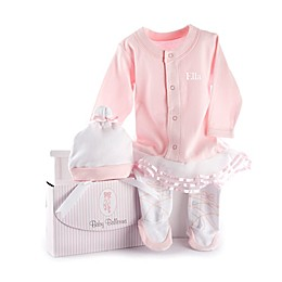 """Baby Aspen Size 0-6M """"Big Dreamzzz"""" Baby Ballerina 2-Piece Footed Coverall and Cap Set"""