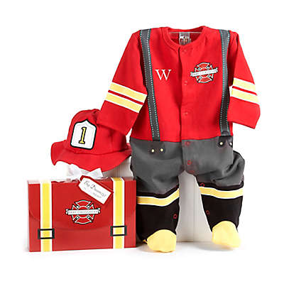"Baby Aspen Size 0-6M ""Big Dreamzzz"" Baby Firefighter 2-Piece Footed Coverall and Cap Set"