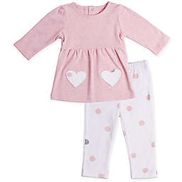 Asher and Olivia® 2-Piece Heart Patch Tunic and Pant Set in Pink