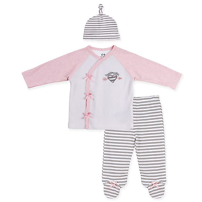 Alternate image 1 for asher and olivia® 3-Piece Arctic Chic Kimono Set in Pink