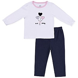 asher and olivia® 2-Piece Industrial Dream Heart Top and Knit Denim Pant Set