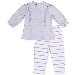 asher and olivia® 2-Piece Industrial Dream Ruffled Top and Striped Pant Set
