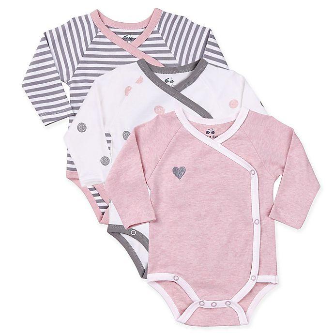 Alternate image 1 for asher and olivia® Preemie Dot & Stripe 3-Pack Kimono Bodysuits in Pink