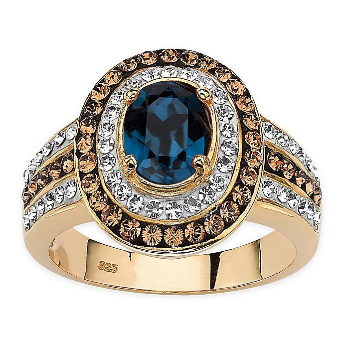 5248b977b Palm Beach Jewelry 18K Gold-Plated Swarovski® Elements Blue Sapphire Ring