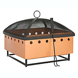 Safavieh Wyatt Wood-Burning Fire Pit in Copper/Black